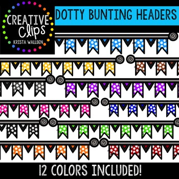 FREE Dotty Bunting Headers {Creative Clips Digital Clipart}