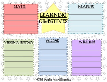 FREE EDITABLE Learning Objectives