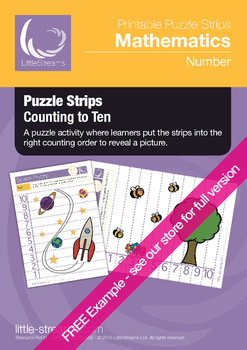 FREE EXAMPLE Counting Puzzle Strips