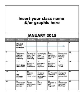 FREE Editable January Lesson Overview Calendar (Montessori