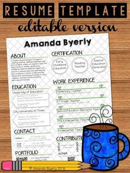 FREE Editable Resume Template by Take Home Teacher   Teachers Pay ...