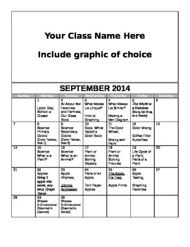 FREE Editable September Lesson Overview Calendar (Montesso
