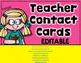 FREE  Editable Teacher Contact Cards