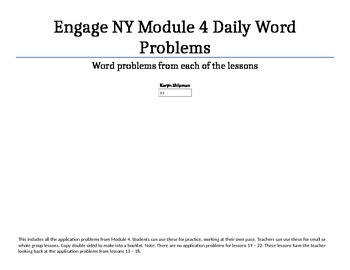 FREE Engage NY Module 4 application problems