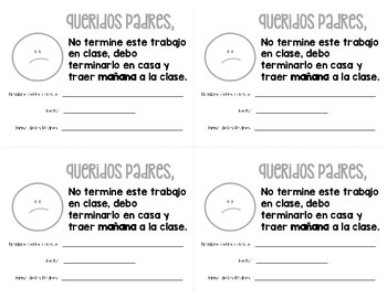 FREE English & Spanish Incomplete Work Note To Parents! Pa