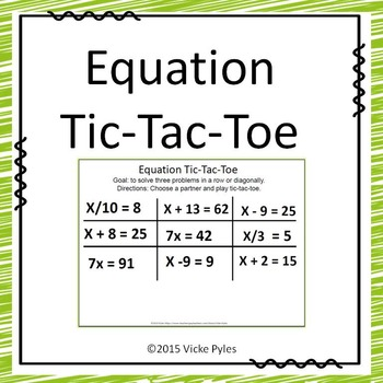 FREE Equation Tic Tac Toe Activity