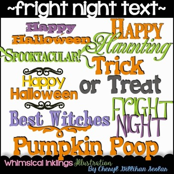 FREE FREE FREE Fright Night Halloween Text Clipart Collection