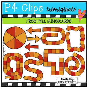 FREE Fall Game Boards (P4 Clips Trioriginals Digital Clip Art)
