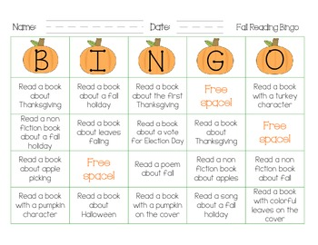 FREE Fall Themed Reading Bingo