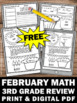 FREE February Math Daily Morning Work Grade 3 Worksheets H