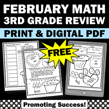 3rd grade math worksheets Valentine's Day Februrary