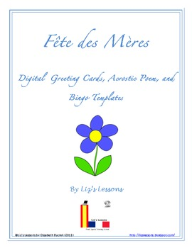 FREE Fete des Meres Digital Greeting Cards, Acrostic Poem,