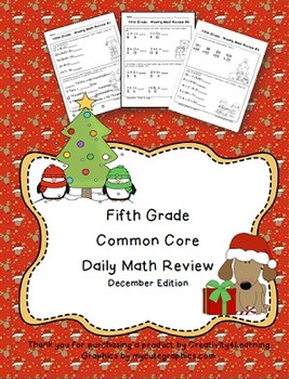 FREE Fifth Grade Common Core Daily Math Review - December Edition