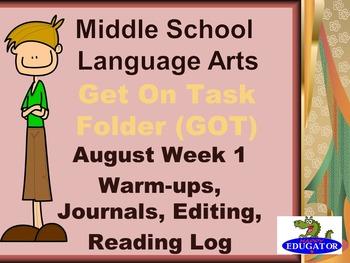 FREE First Week of School - Middle School Language Arts GO