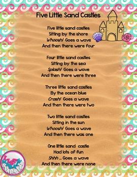 FREE Five Little Sand Castles Summer Poem Finger Play for