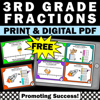 free fractions task cards and activities for 3rd 4th grade