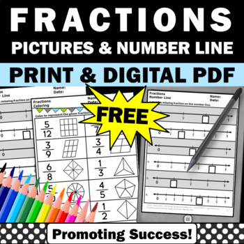 FREE Fractions Pictorial Coloring Math Review Worksheet Fi