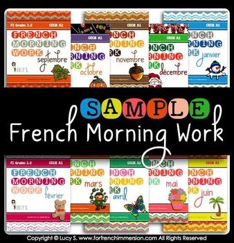 FREE French Language Morning Work Sample Worksheets