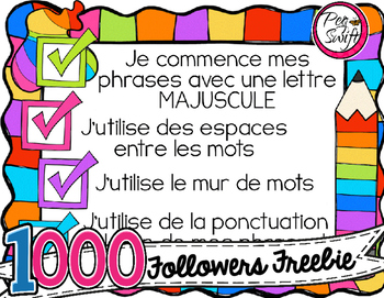 FREE French Writing Anchor Chart