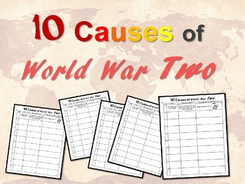 "FREE GRAPHIC ORGANIZER to go with ""Ten Causes of World War"