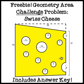 FREE Geometry Solving Area Challenge Problem: Swiss Cheese