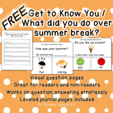 FREE Get to Know You / Back to School Questions for Special Ed