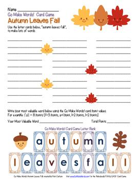 FREE!  Go Make Words! Autumn Leaves Fall - FUN Activity Sh
