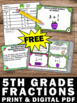 FREE Fractions Task Cards 5th Grade Common Core Math Cente
