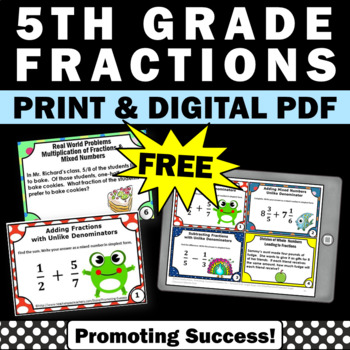 free 5th grade math fractions task cards games activities