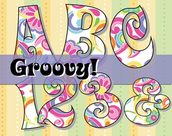 FREE Groovy! 70's-Inspired Alphabet - 150 DPI, 66 page PDF