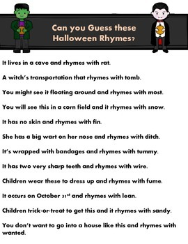 FREE - Halloween Rhymes - Guess what it is!!!