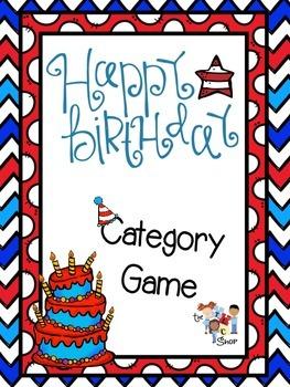 FREE! Happy Birthday Category Game