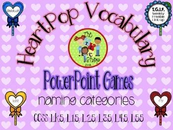 FREE! Heart Pop Vocab PowerPoint Games - Categories