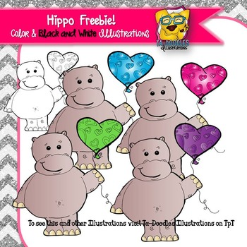FREE Hippo with Balloon Commercial Use Clipart