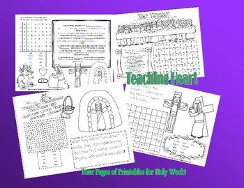 FREE Holy Thursday, Good Friday, Easter Sunday Activity Sheets!
