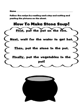 FREE How To Make Stone Soup Read, Cut And Paste Activity-N