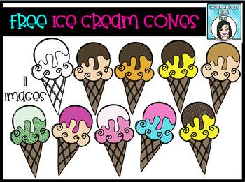 (FREE) Ice Cream Cones Clip Art Set