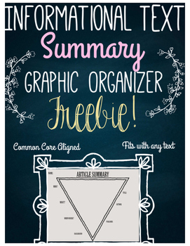 FREE Informational Text Summary Graphic Organizer