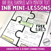 Interactive Notebook Pages 5th CCSS RI.5.3 Character and E