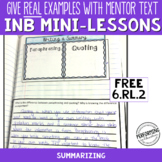 FREE Interactive Notebook Pages with Mini Lesson 6th Summa