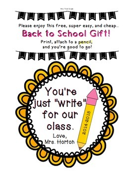 """FREE """"Just Write for Our Class"""" Back to school gift tag"""
