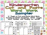 FREE Kindergarten Cut and Paste Word Work Sampler
