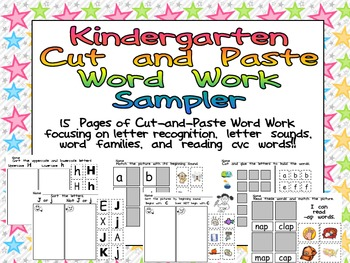 FREE Kindergarten Cut and Paste Word Work Sampler by Melissa ...