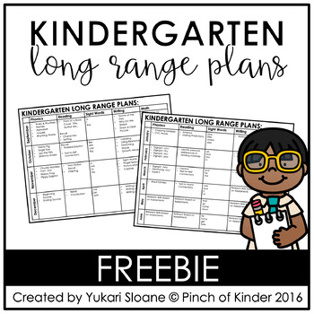 FREE Kindergarten Long Range Plans