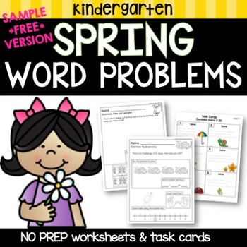 FREE Kindergarten Word Problems March - April