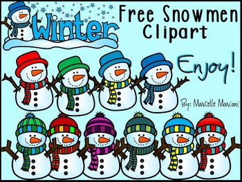 FREE LITTLE SNOWMEN CLIPART-COMMERCIAL USE-COLOUR AND BLACK-WHITE