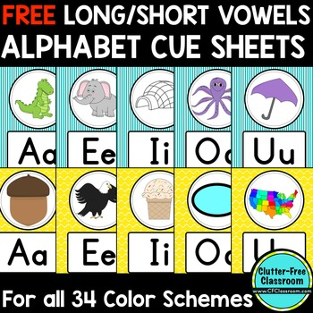 FREE Long/Short Vowel Alphabet Posters Classroom Color Sch