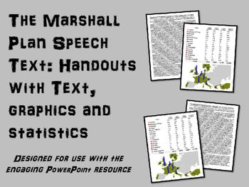 FREE Marshall Plan Handout, with speech text,graphics and