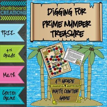 FREE Math Center Game: Digging for Prime Number Treasure (