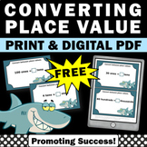 FREE Converting Place Value Task Cards 4th 5th Grade Commo